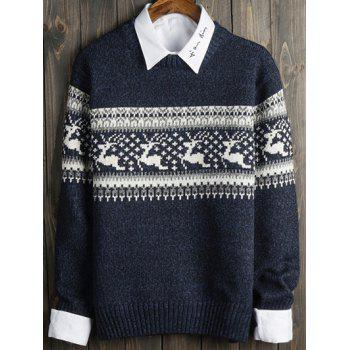 Deer and Geometric Pattern Long Sleeve Sweater