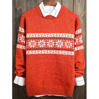 Snowflake and Geometric Pattern Long Sleeve Sweater