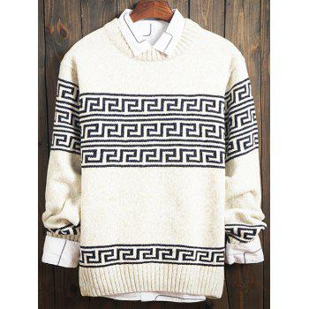 Curve Geometric Pattern Long Sleeve Sweater