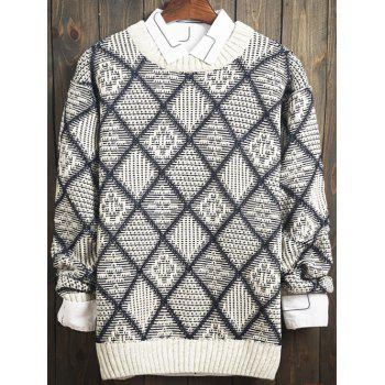 Argyle Pattern Long Sleeve Sweater