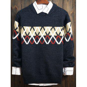 Color Block Argyle Long Sleeve Sweater