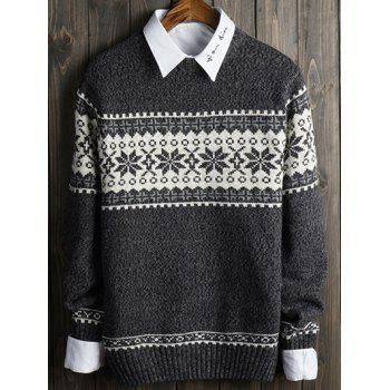 Snowflake and Geometric Spliced Long Sleeve Sweater