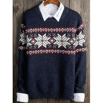Color Block Snowflake Long Sleeve Sweater