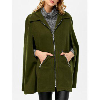 Zipper Wool Blend Cloak Coat