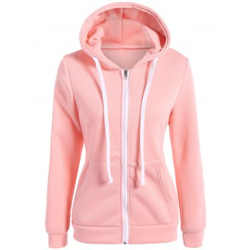Slimming Zip Up Drawstring Hoodie