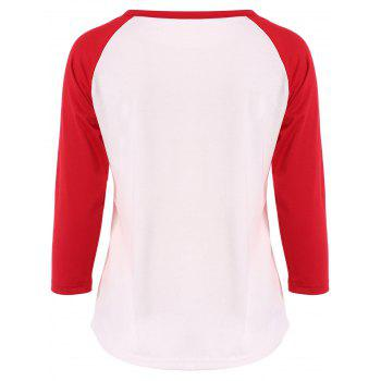 Graphic Printed Raglan Sleeve T-Shirt - RED/WHITE M