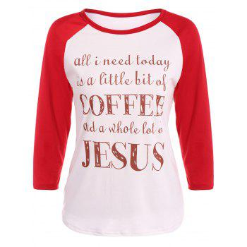 Graphic Printed Raglan Sleeve T-Shirt - RED WITH WHITE RED/WHITE