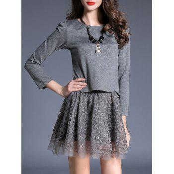 Pendant Embellished Tee and Lace Skirt Twinset - GRAY GRAY