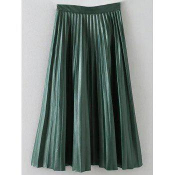 PU Leather Pleated Maxi Skirt