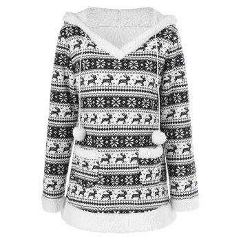 Reindeer Pattern Fleece Christmas Hoodie