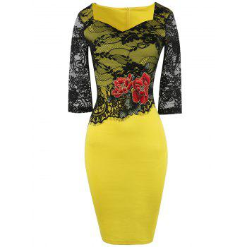 Embroidery Lace Trim Insert Bodycon Dress