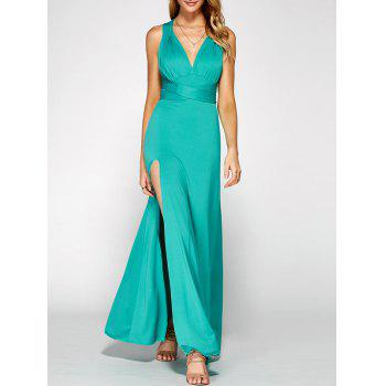 Criss Cross Backless Slit Long Prom Dress