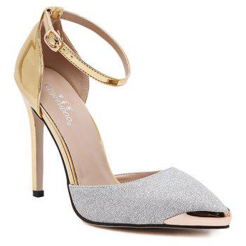 Metal Toe Two Piece Sequined Cloth Pumps