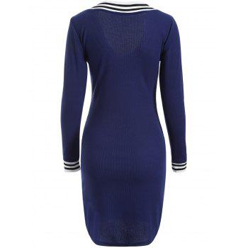 Cricket Long Sleeve Knitted Sweater Shirt Dress - PURPLISH BLUE PURPLISH BLUE