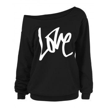 Skew Collar Love T-shirt à manches longues
