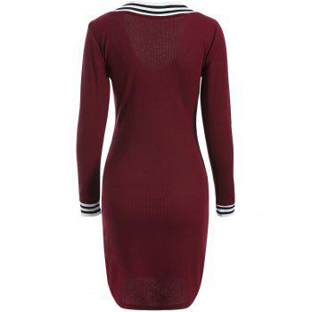 Cricket Long Sleeve Knitted Sweater Shirt Dress - WINE RED L