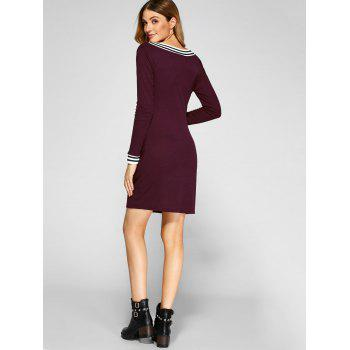 Cricket Long Sleeve Knitted Sweater Shirt Dress - WINE RED WINE RED