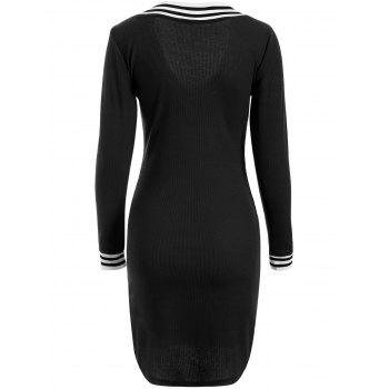 Cricket Long Sleeve Knitted Sweater Shirt Dress - BLACK BLACK