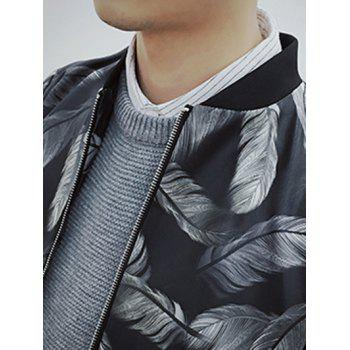Zip Up Stand Collar Feather Printed Jacket - BLACK L
