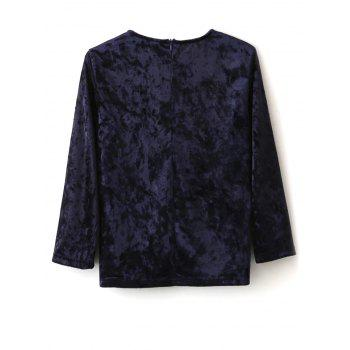 Crushed Velvet Top - CADETBLUE S