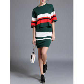 Contrast Sweater and Striped Skirt Twinset - GREEN ONE SIZE