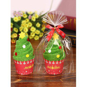 Christmas Decoration Xmas Tree Pattern Cake Towel - GREEN GREEN