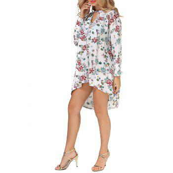 Long Sleeves Floral Print High Low Dress - FLORAL L