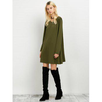 Long Sleeves Boyfriend Loose Fitting T-Shirt Dress - ARMY GREEN S