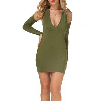 Cold Shoulder Open Back Bodycon Party Bandage Dress - ARMY GREEN L
