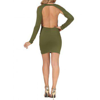 Cold Shoulder Open Back Bodycon Party Bandage Dress - ARMY GREEN XL