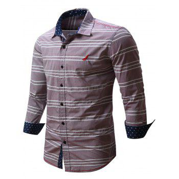 Button Front Embroidered Striped Shirt - RED M