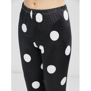 Polka Dot High Waist Leggings - BLACK S