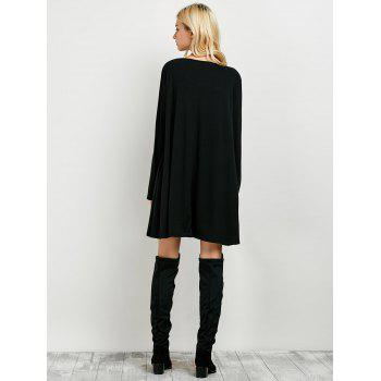 Long Sleeves Boyfriend Loose Fitting T-Shirt Dress - BLACK XL