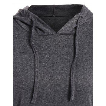 Kangaroo Pocket Pullover Drawstring Hoodie - GRAY XL