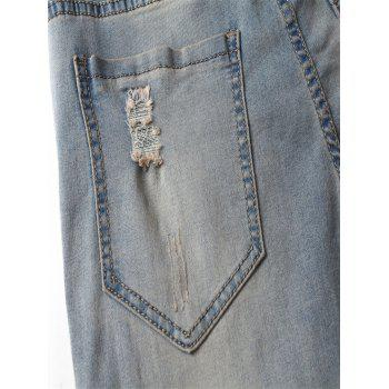 Zipper Fly Narrow Feet Knee Holes Frayed Ripped Jeans - BLUE 30