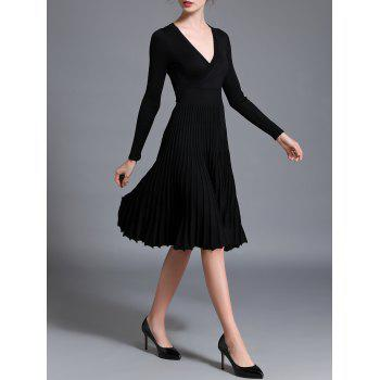 Long Sleeve High Waist Pleated Dress - BLACK ONE SIZE