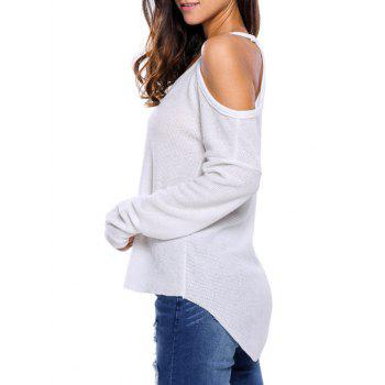 V Neck Cold Shoulder Asymmetric Pullover Sweater - WHITE S