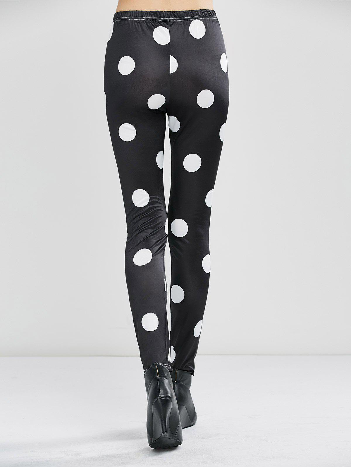 Polka Dot High Waist Leggings - BLACK XL