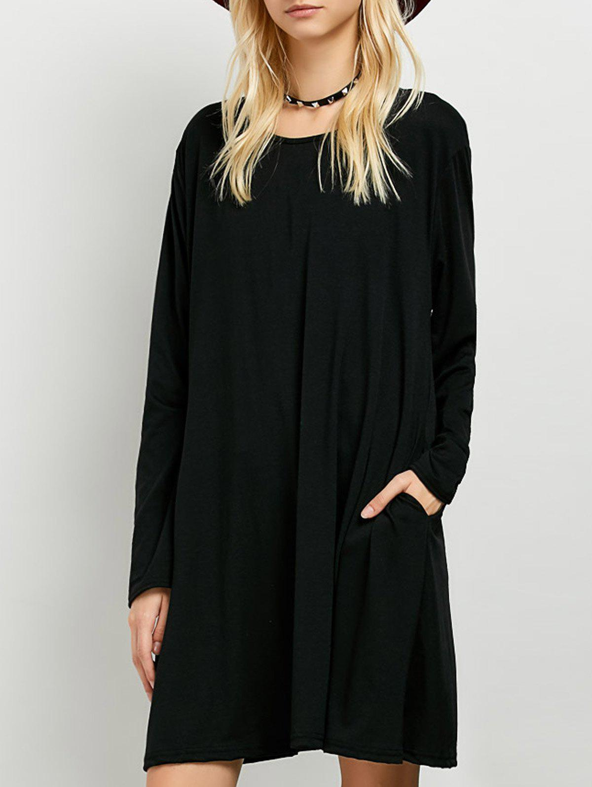 Long Sleeves T-Shirt Dress - BLACK XL