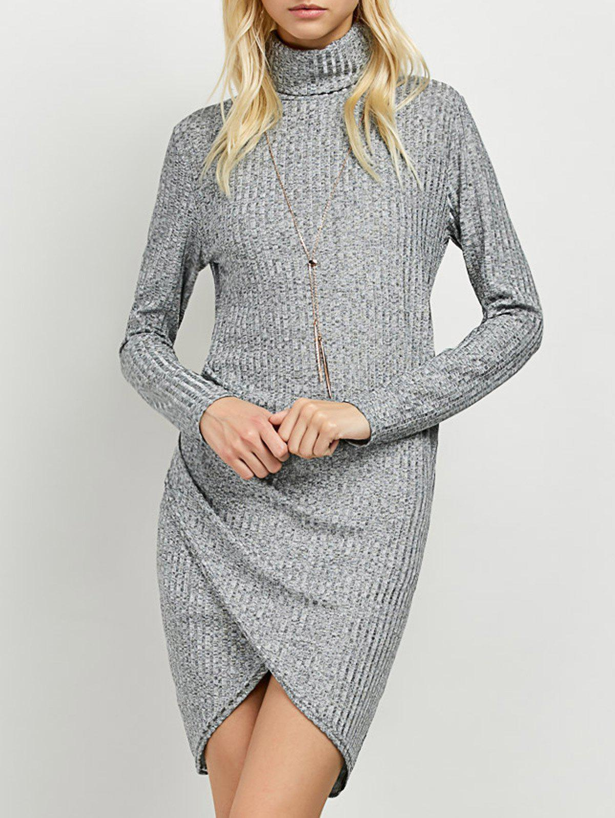 Turtleneck Ruched Knitted Dress turtleneck knitted bodycon dress