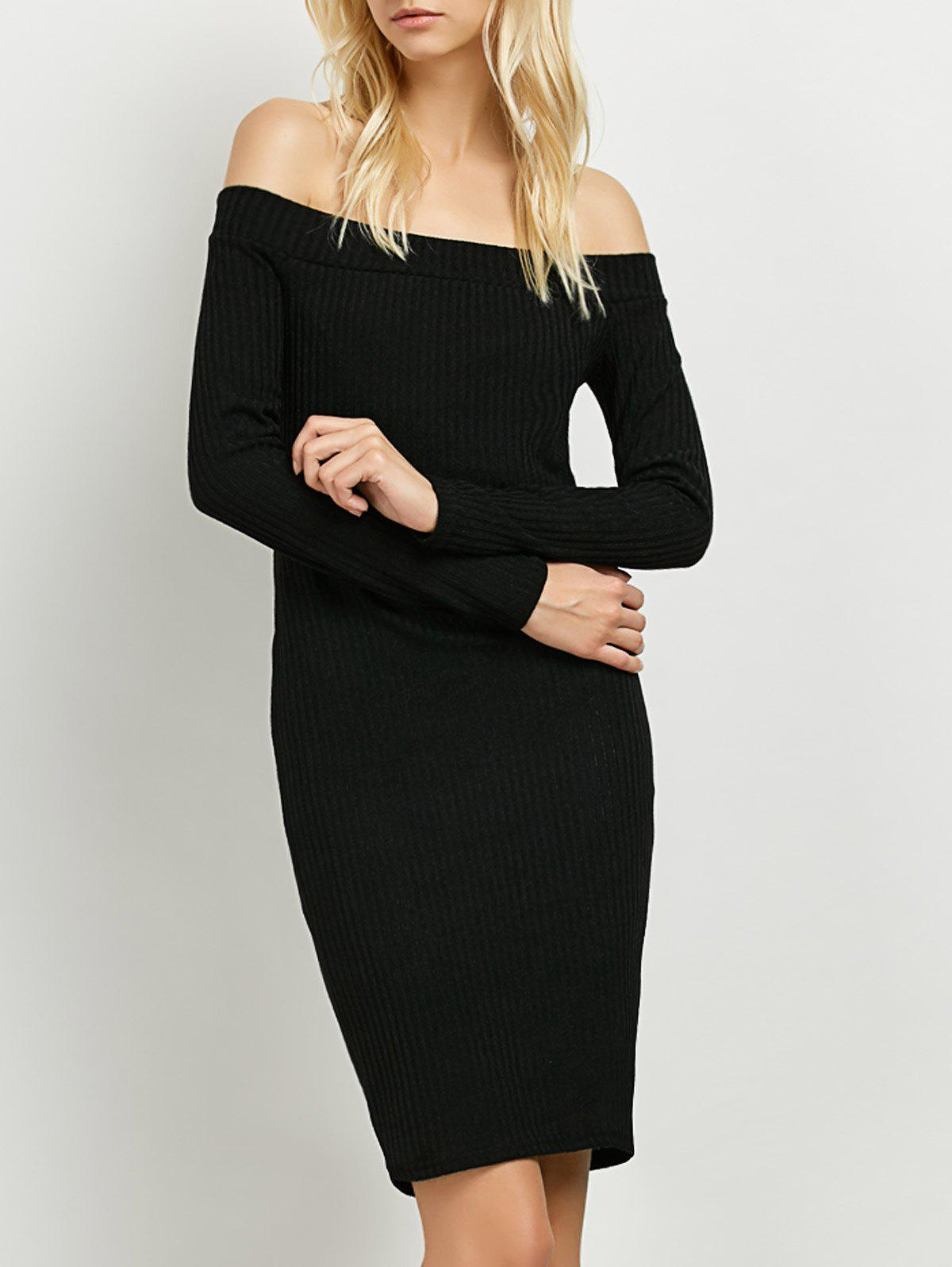 Manches longues Off The Shoulder Tricoté Club robe - Noir M