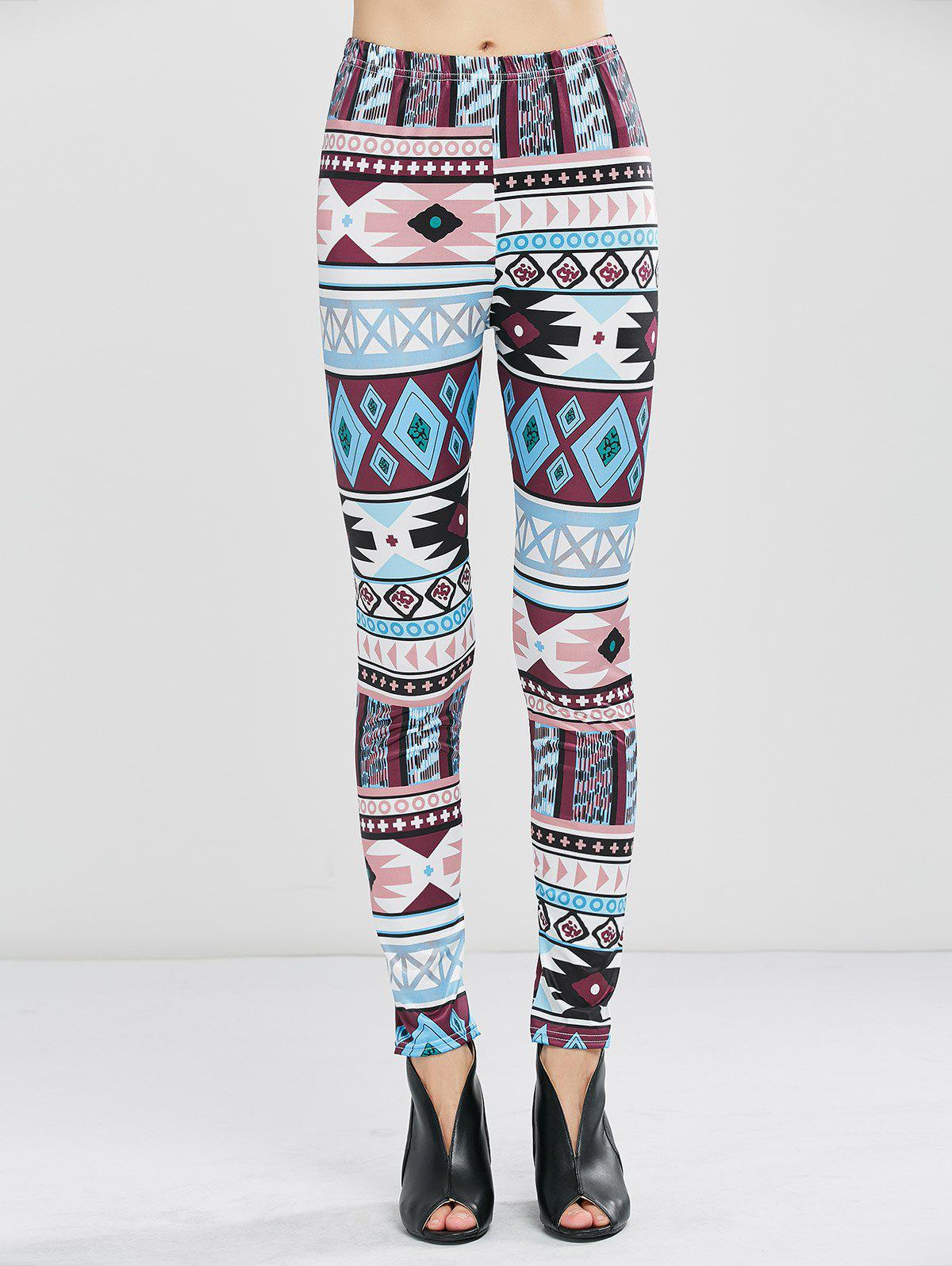Geometrical Print Stretchy Leggings - GEOMETRIC PRINT XL