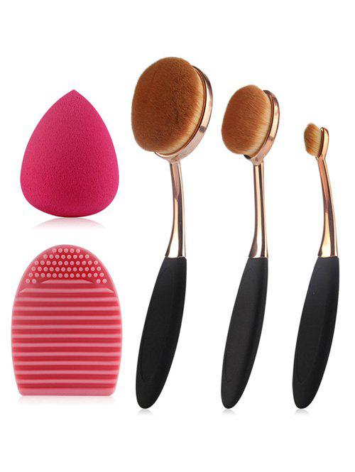 3 Pcs Toothbrush Shape Makeup Brushes Set + Teardrop Makeup Sponge + Brush Egg - BLACK