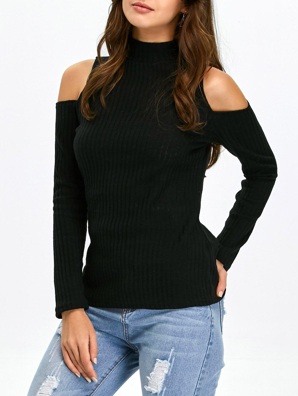 Mock Neck Open Shoulder Knitted Top - BLACK S