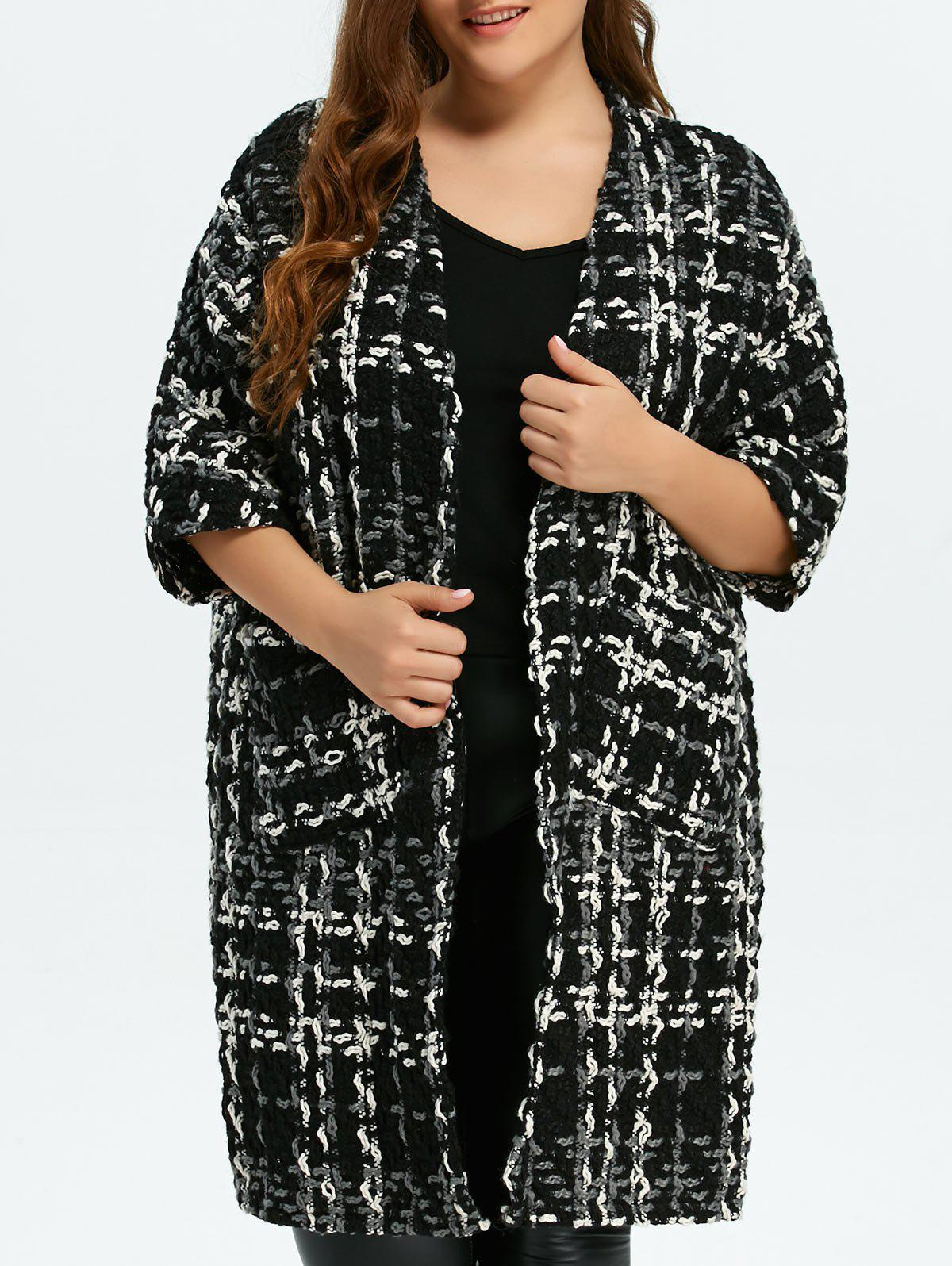Plus Size Space Dyed Chunky Cardigan - BLACK ONE SIZE