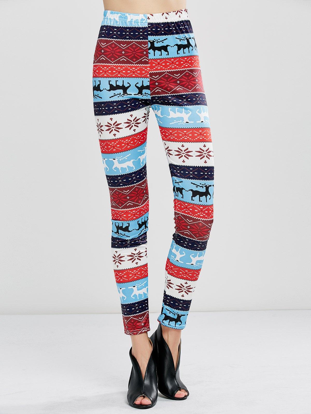 Christmas Fawn Print Leggings - WINDSOR BLUE S