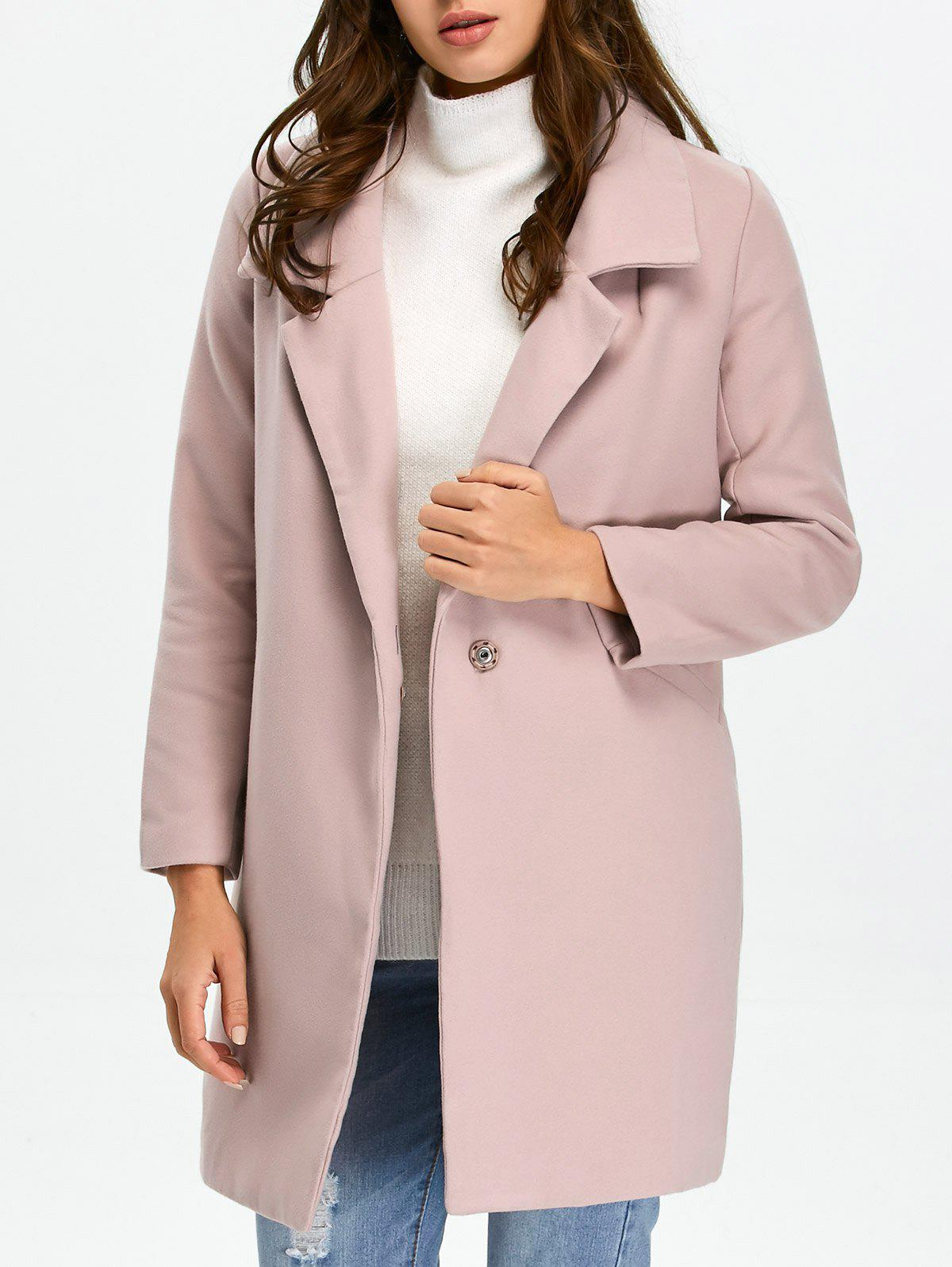 Pocket Lapel Overcoat With Snap Button - PALE PINKISH GREY M