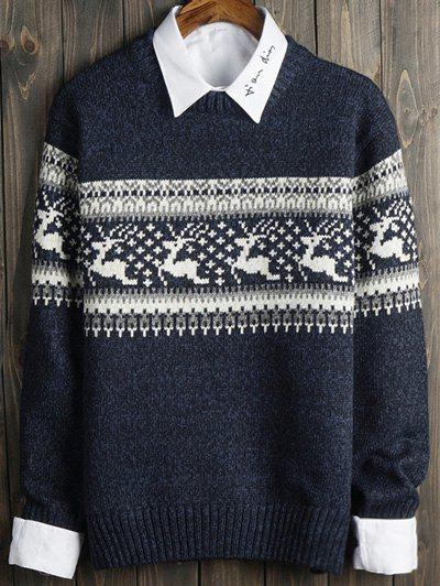 Deer and Geometric Pattern Long Sleeve SweaterMen<br><br><br>Size: M<br>Color: BLUE