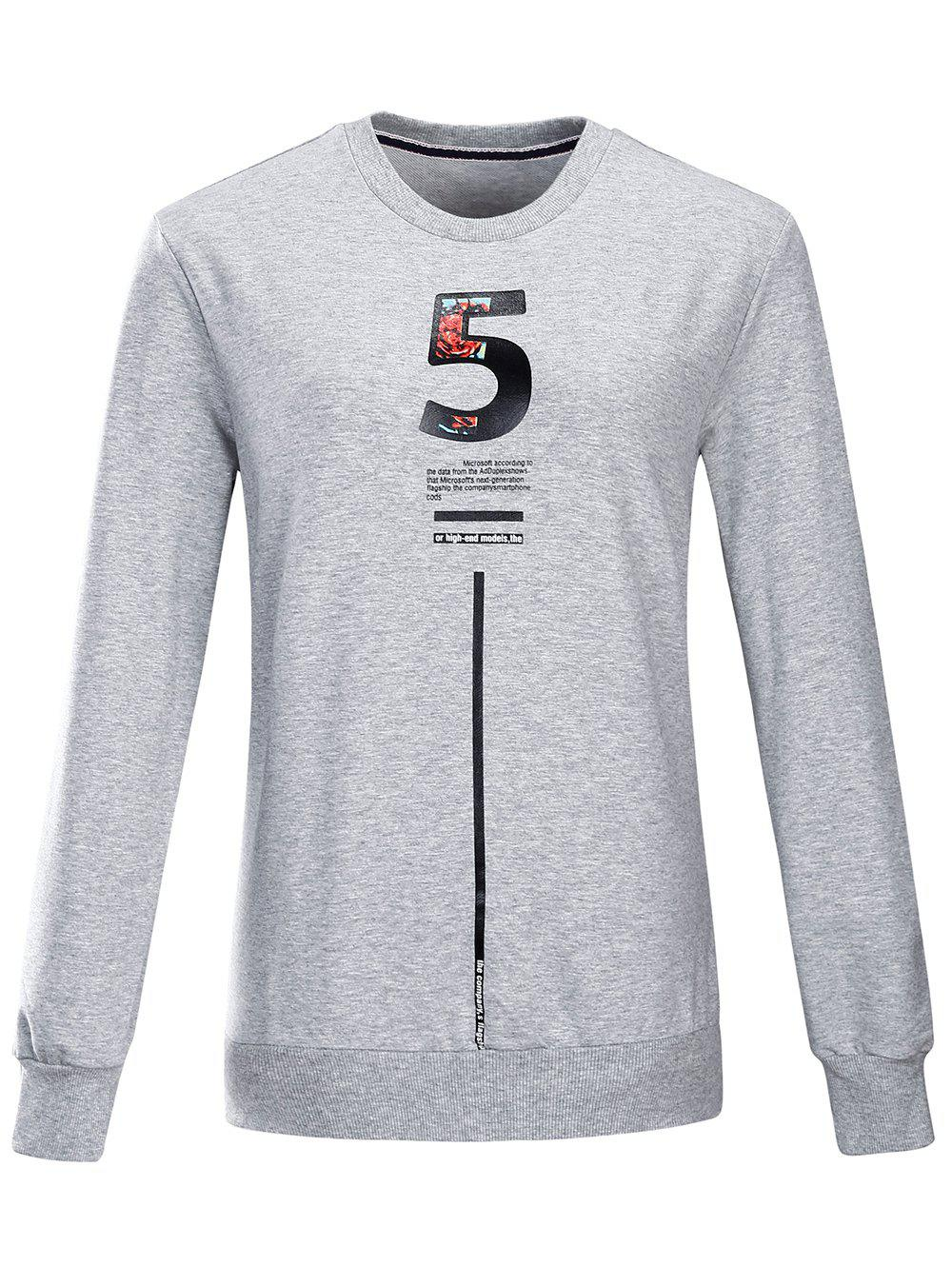 2018 Graphic Crew Neck Sweatshirt Gris L In Sweat Shirts Sweats à