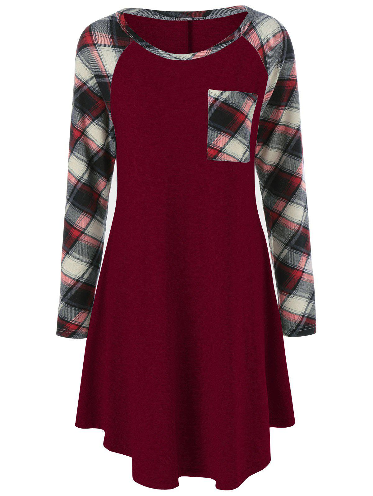 Plus Size Plaid Garniture simple robe de poche - Rouge Foncé 4XL